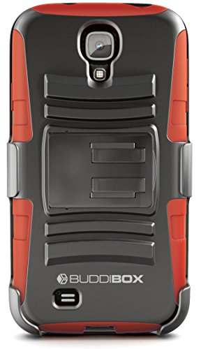 Galaxy S4 Case, BUDDIBOX [HSeries] Heavy Duty Swivel Belt Clip Holster with Kickstand Maximal Protection Case for Samsung Galaxy S4, (Red)
