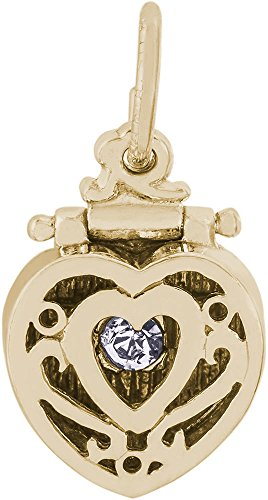 Rembrandt Heart Engagement Ring Box Charm w/ White Synthetic Crystal - Metal - 10K Yellow (Rembrandt 10k Ring)
