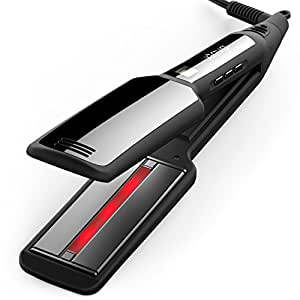 xtava Pro Satin Infrared Hair Straightener - Professional 2 Inch Flat Iron with Wide Ceramic Plates & Temperature Control - Dual Voltage & Auto Shut Off with Travel Case - Best for Long and Short Hair
