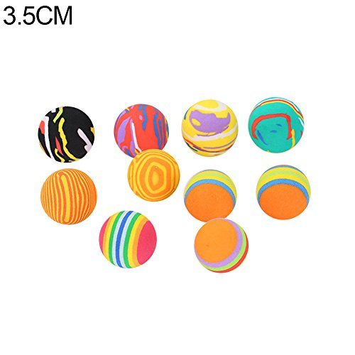 (Alamana Colorful Ball Design, 10Pcs Pet Cats Kitten Colorful Ball Bite Chew Scratch Funny Playing Toys Teaser Pet Supplies Random Color 3.5cm)