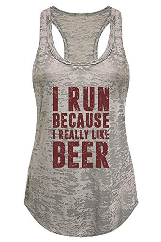 Tough Cookie's Women's I Run Because I Like Beer Burnout Tank Top (Medium - LF, Heather Gray)