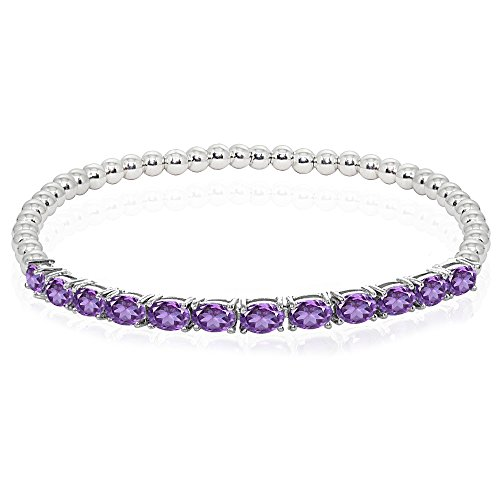 Sterling Silver African Amethyst Oval Beaded Stretch Tennis Style Bracelet ()