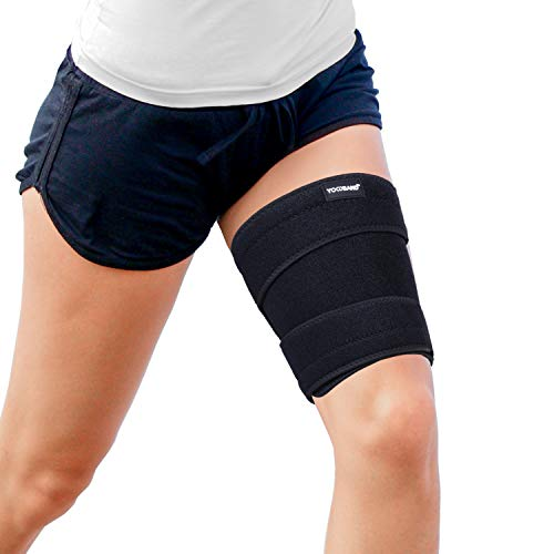 Yowband Compression Thigh Brace-Hamstring Quad-Adjustable Strap,Anti-Slip Silicone Band Support for Muscle Injury Recovery,Upper Thigh&Groin,Pulled Groin Muscle,Quadricep,Cellulite Slimmer-Men,Women