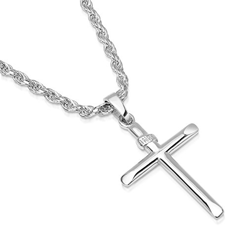 XP Jewelry Mens Sterling Silver Cross Pendant INRI Rope Chain Necklace Italian Made - 050-18