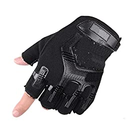 Frackson Certified Imported 1 Pair Black Protective Half Finger Hand Riding, Cycling, Bike Motorcycle Gym Gloves for Men…