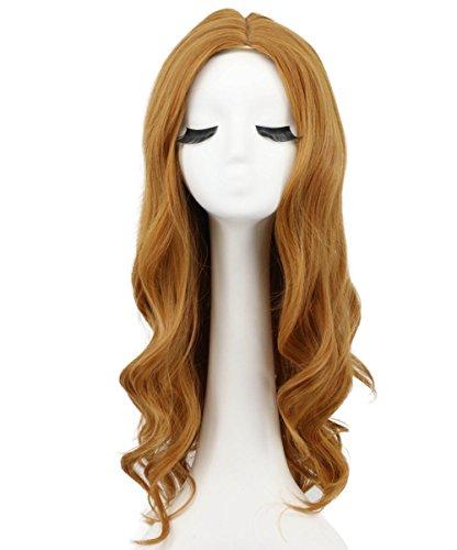 Karlery Women Long Loose Wave Orange Wig Halloween Cosplay Wig Anime Costume Party Wig