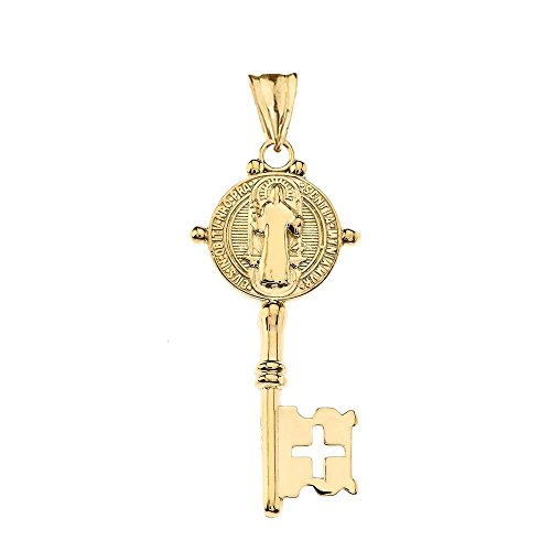 Fine 14k Yellow Gold Saint Benedict Reversible Cross Key Pendant ()