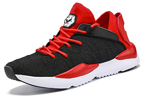 Kids Shoes Breathable Lightweight Athletic Tennis Shoes for Boys Black Red Size 2 M US Little Kid Black Red Boys Sneakers