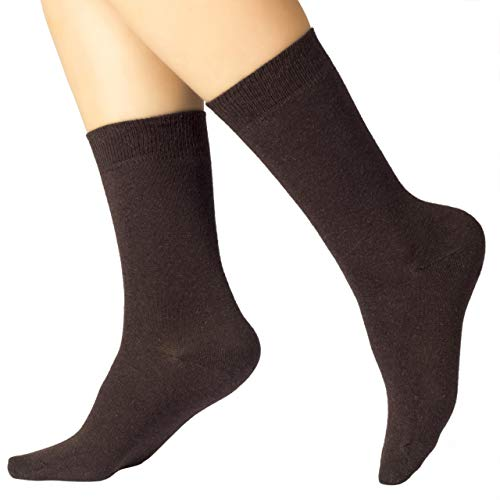 Ruby Slippers 4 Pairs Women's Eco Friendly Cotton Dress Socks / Crew Length / Business Casual (Dark Brown, 6-9)