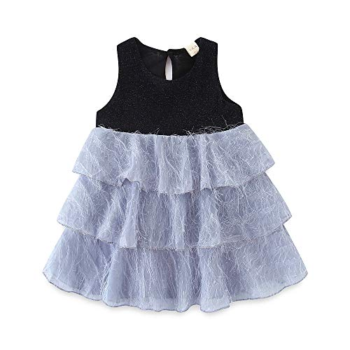 (HILEELANG Toddler Baby Girl Tiered Dresses Shiny Party Sleeveless Tank Multilayer Skirt Dress Black )