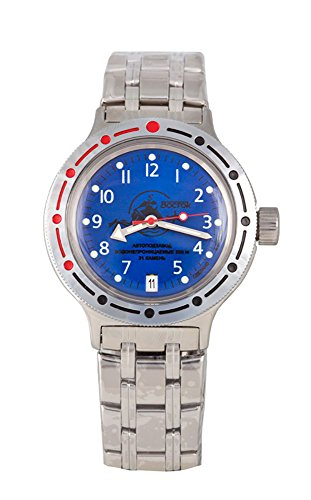 Vostok Amphibian Military Russian Diver Watch Scuba Dude Blue 2416 / 420379 (Blue Vostok Watch)