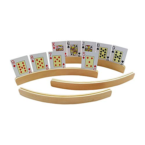 YH Poker 14 Inch Wooden Playing Card Holders, Set of 4 (Wood Playing Card Set)