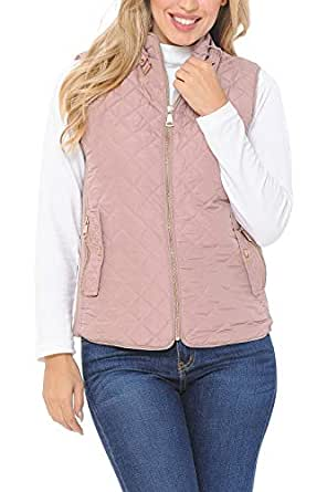 Auliné Collection Womens Quilted Zip Up Lightweight Padding Vest MFZP Mauve S