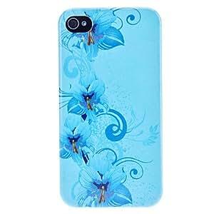DUR Exquisite Blue Flower Flash Powder Hard Case for iPhone 4/4S