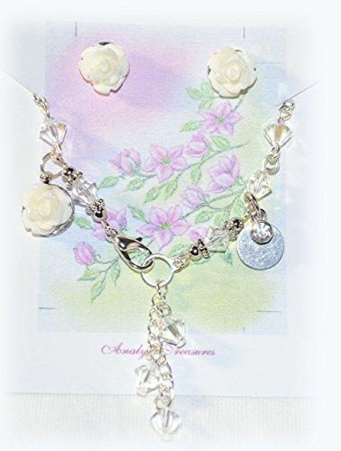 Scout Flower Ring - Flower Girl Bracelet in Clear Swarovski - April Birthstone w/ Rose Earrings Set Jewelry- Hand Stamp Initials - Wedding / Birthday Gift~ 6 1/2