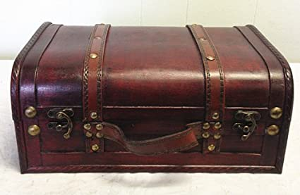 Faux Leather Decorative Wooden Storage Trunk (HF 008C 2)