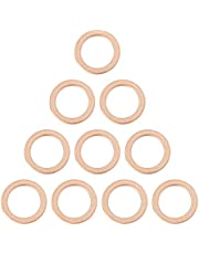X AUTOHAUX 10pcs M14 Copper Tone Oil Drain Plug Gaskets Replacement for Benz 007603-014106