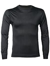 New Terramar Mens Thermasilk Silk Long Underwear Top, Black