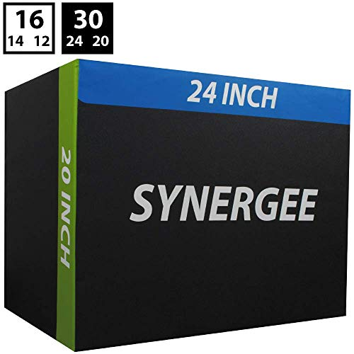 Synergee 3 in 1 Soft Plyometric Jump Box for Jump Training and Conditioning. Ouch Proof Plyo Box All in One Jump Trainer. Size - 30/24/20