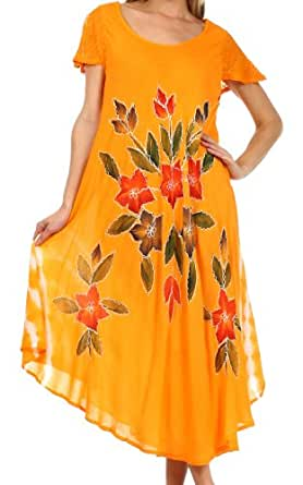 Sakkas 615D Embroidered Painted Floral Cap Sleeve Cotton Dress - Orange / One Size