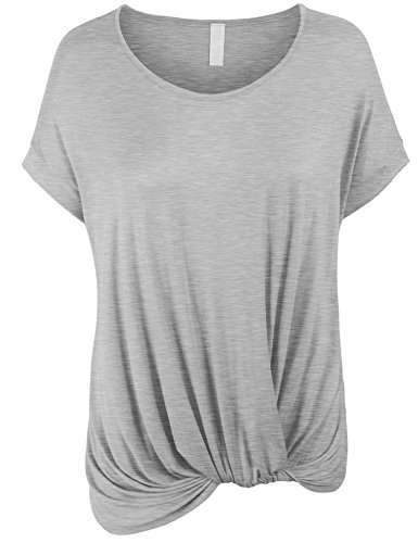 KOGMO Womens Solid Basic Boatneck Dolman Top with Knot on Hemline-3X-HEATHER_Gray