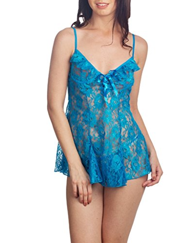 Escante Women's Lace Flutter Chemise and G-String, Ocean Blue/Black, Medium
