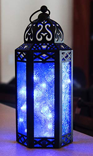 Vela Lanterns Moroccan Style Candle Lantern with LED Lights, Medium, Blue Glass