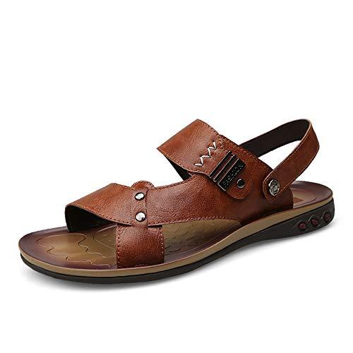 Marron 41 EU Sandales Hommes Pour des hommes mode Sandals Décontracté Simple Pantoufles en métal à Double Usage antirouille Confortable