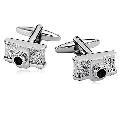 Gnzoe Stainless Steel Men's Shirt Cuff Links Business Wedding Photography Lovers Camera Silver Black