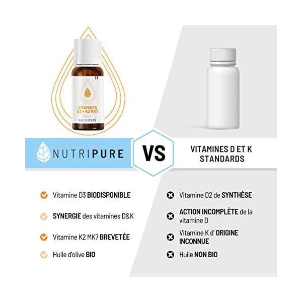 Vitamine D3 K2 MK7 100% Pure & naturelle avec Huile d'olive bio • 5 mois d'utilisation • Booste le système immunitaire…