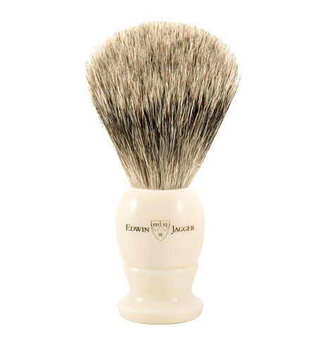 Edwin Jagger Best Badger Shaving Brush in Ivory, Medium
