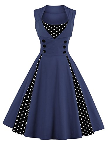 [VOGTORY Womens 1980s Vintage Sleeveless Polka Dots V-Neck Garden Party Rockabilly Swing Dress] (1980s Dress)
