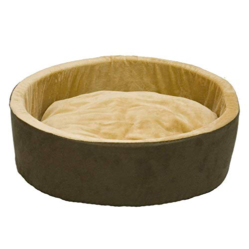 K&H Pet Products Thermo-Kitty Heated Pet Bed Mocha Brown Large 18 Inches
