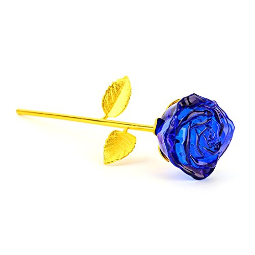 ZJchao Glass Rose Flower, 24K Gold Plated Long Stem Artificial Blue Rose Flower Anniversary Birthday Valentines Gift for Her