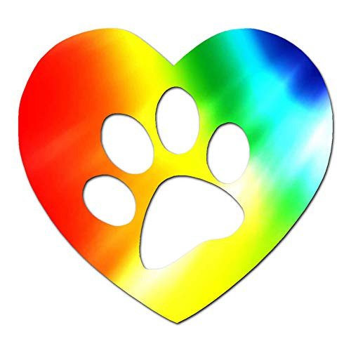 "Dog Paw Print Heart - Vinyl Decal Sticker - 6.25"" x 5.75"" - Tye Dye from Southern Decalz"