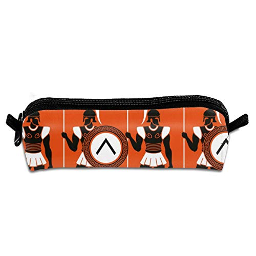 Toga Party,Artistic Historical Warrior Figures in Ancient Greece Military Theme,Orange Black White Pencil Case Stationery Pouch Bag Coin Purse Multipurpose Travel Pouch Cosmetic Bag Organizer for -