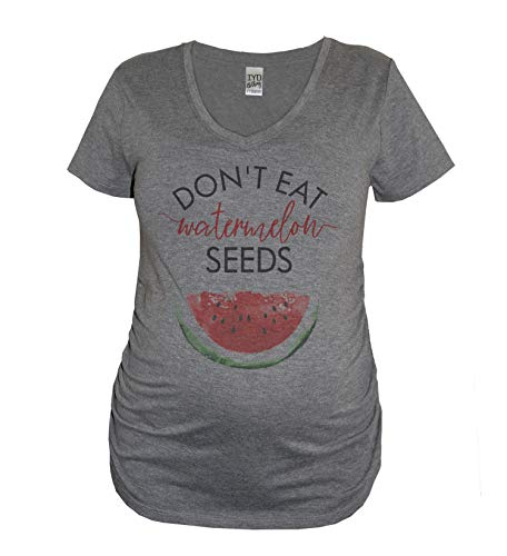 Don't Eat Watermelon Seeds Maternity Women's Tri-Blend Pregnancy Announcement V Neck Shirt (XL) Heather Gray -