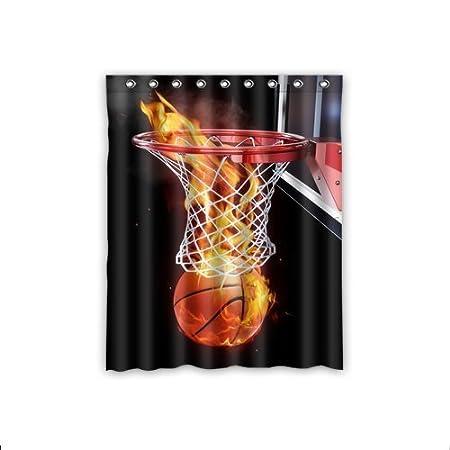 Custom Flaming Basketball Window Curtains Drape Panels Treatment Polyester Fabric Bedroom Decor 52quot