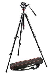 Manfrotto 500 MVH500AH,755XBK Robust Fluid Video Head&755xb Alu Single Leg Tripod, Black
