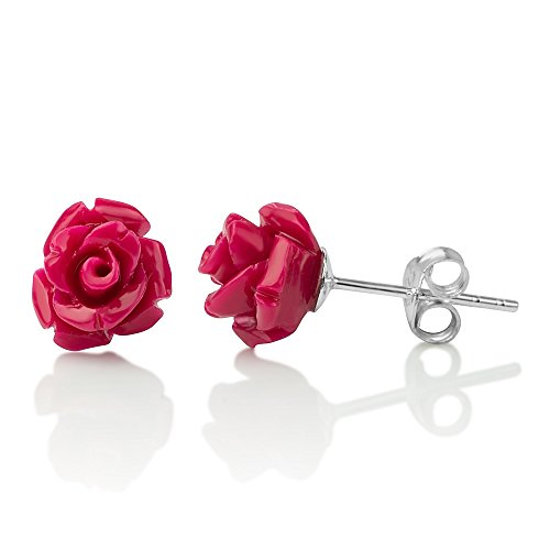 925 Sterling Silver Tiny Magenta Pink Resin Blooming Rose Flower Post Stud Earrings 9 -