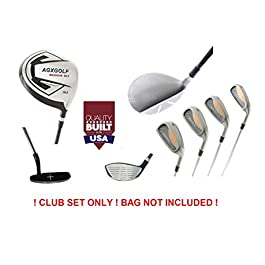 AGXGOLF Magnum Men's XT Executive Edition Golf Club Set: Graphite 460cc Dr + Woods + 4, 6, 8 Irons + Pitching Wedge + Free Putter Right Hand: Cadet, Regular or Tall Lengths USA Built