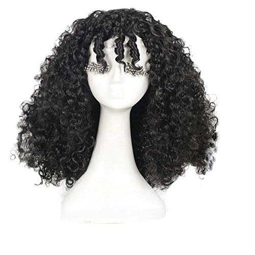 Tangled Cosplay Wig Black Long Curly Movie Props Accessories Halloween Party Hair Props High Temperature Silk About 45cm]()
