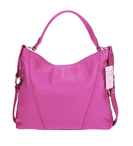 OBC Made in Italy echt Leder Vera Pelle Shopper Henkeltasche Umhängetasche Tasche City Bag Schultertasche 39x39x9 cm (BxHxT) Pink