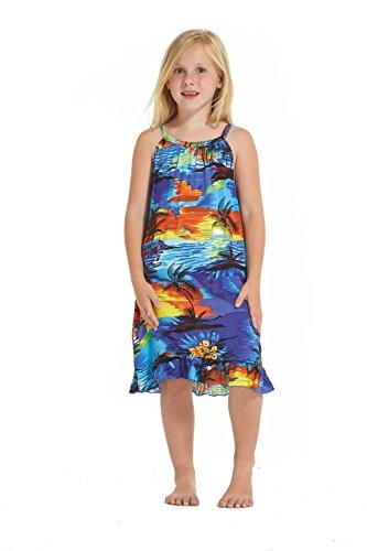 Girl Round Neck Tunic Hawaiian Luau Dress in Blue Sunset Size ()