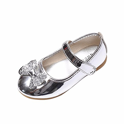 Sparkle Princess Shoes for Girls Sequin Bowknot Flat Shoes Children Velcro Shinning Shoes Mary Jane Princess Party Dress Shoes for Toddlers & Girls by DaoAG - Shoes (Image #1)