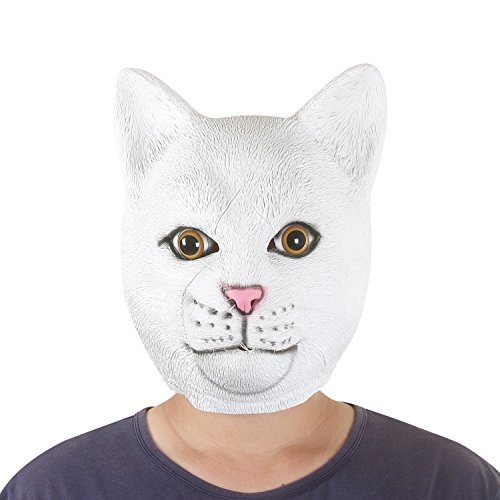 [USATDD Latex Animal Head Mask For Halloween Costume Cosplay Party Deluxe Novelty Gift (Cat)] (Halloween Little Dead Riding Hood Costume)