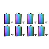 FF Elaine Rainbow Colored Flasks Stainless Steel Flask & Funnel Set,8 oz, Set of 8