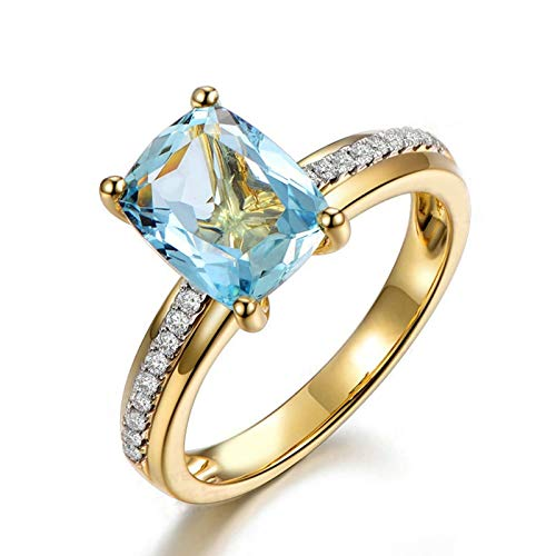 (Adisaer Ladies Engagement Ring 925 Sterling Silver Plated Solitaire WH 7X9Mm Square Blue Topaz Ring Size 8.5)