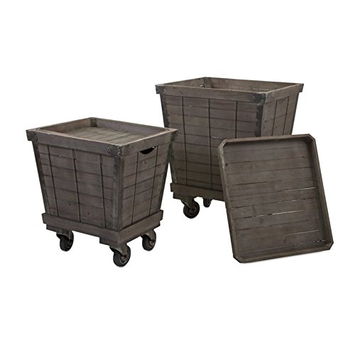 Imax 47654-2 Ella Elaine Wood Cart Tray, Set of 2 22Lx24Wx29H