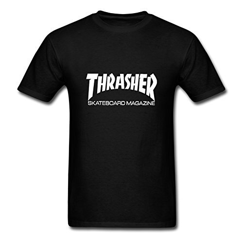 Fowe Men's Short Sleeve O Neck Thrasher Skateboard Cotton T Shirts Large Black